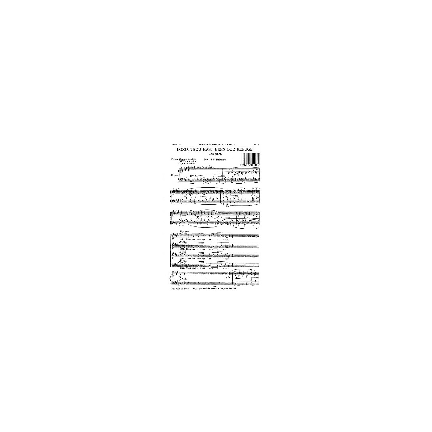 Novello Lord, Thou Hast Been Our Refuge SATB Composed by Edward Bairstow thumbnail