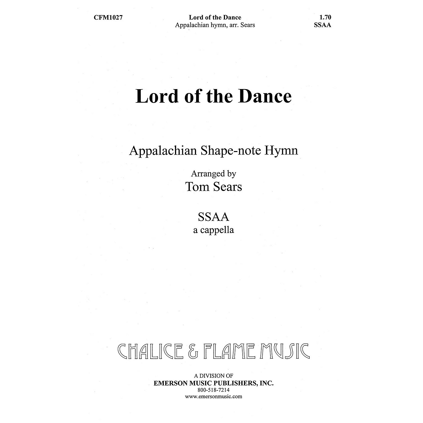 Hal Leonard Lord of the Dance SSAA composed by Tom Sears thumbnail