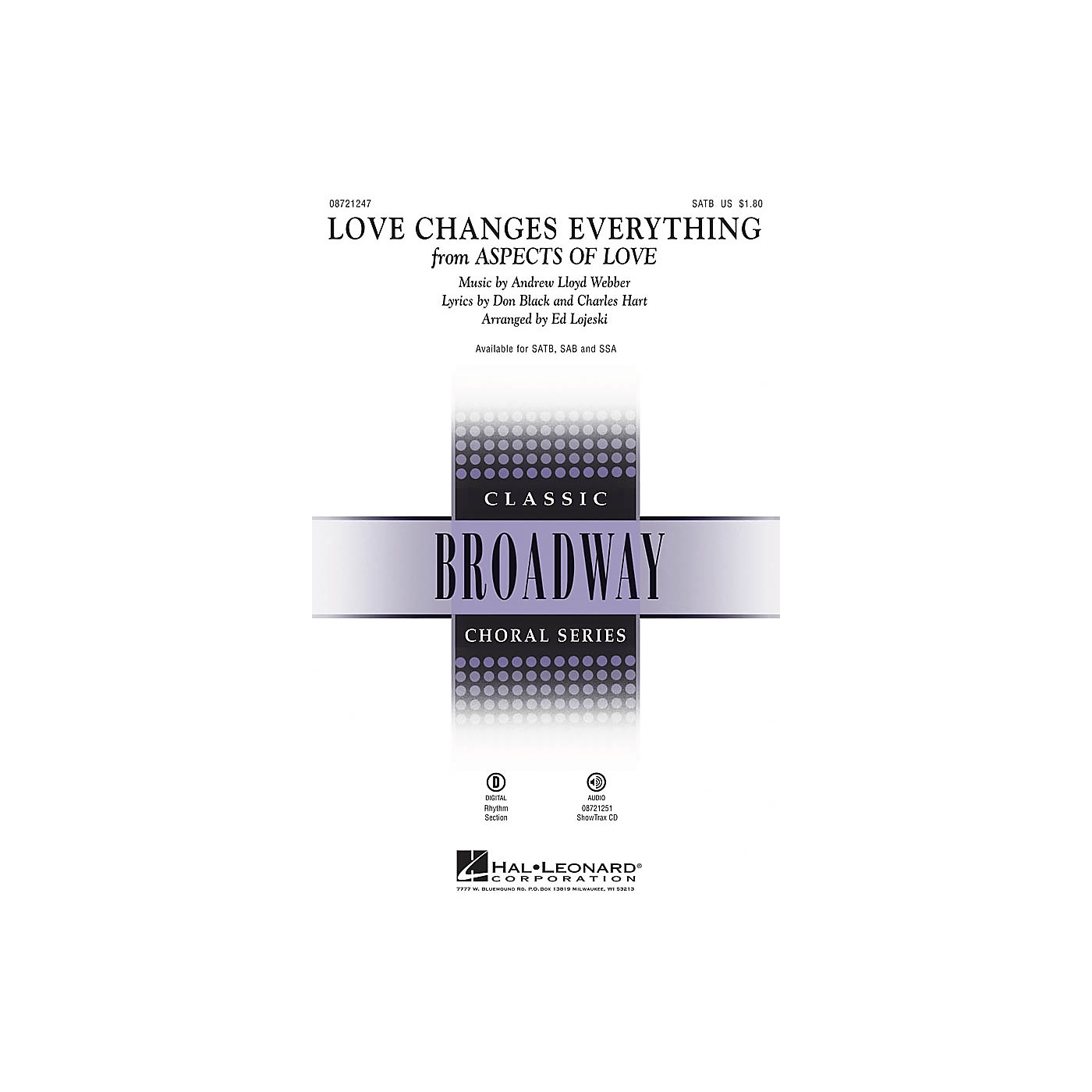 Hal Leonard Love Changes Everything (from Aspects of Love) SATB arranged by Ed Lojeski thumbnail