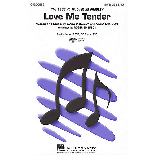Hal Leonard Love Me Tender SATB by Elvis Presley arranged by Roger Emerson thumbnail