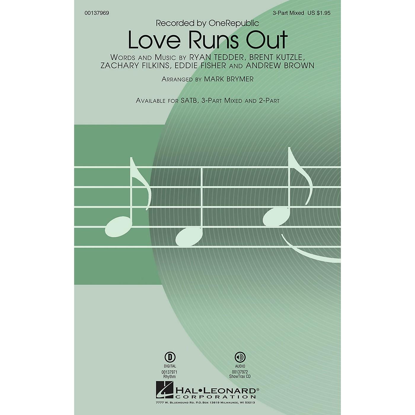 Hal Leonard Love Runs Out SAB by One Republic arranged by Mark Brymer thumbnail