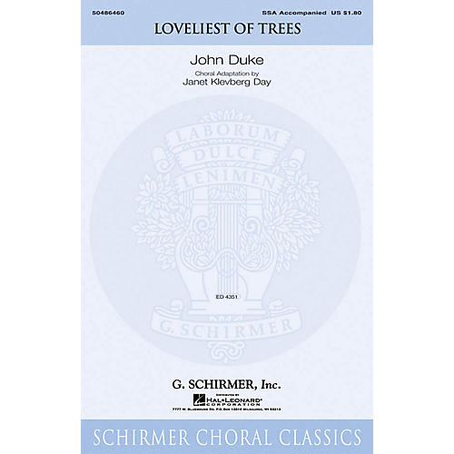 G. Schirmer Loveliest of Trees SSA arranged by Janet Day thumbnail