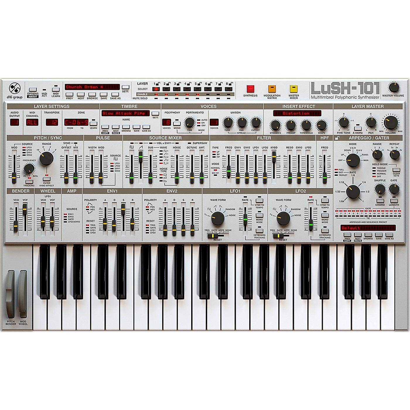 D16 Group LuSH-101 SH101 32 voice polyphonic emulation (VST/AU) Software Download thumbnail