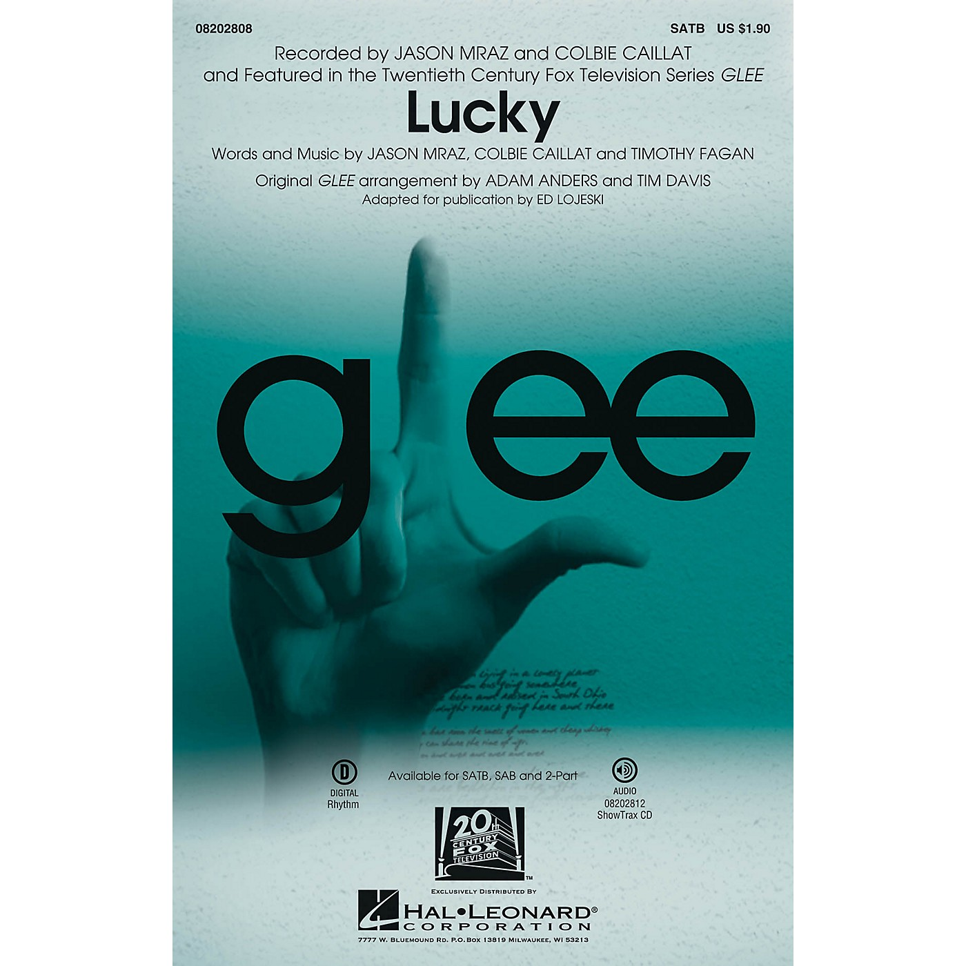 Hal Leonard Lucky (featured in Glee) SATB by Jason Mraz thumbnail