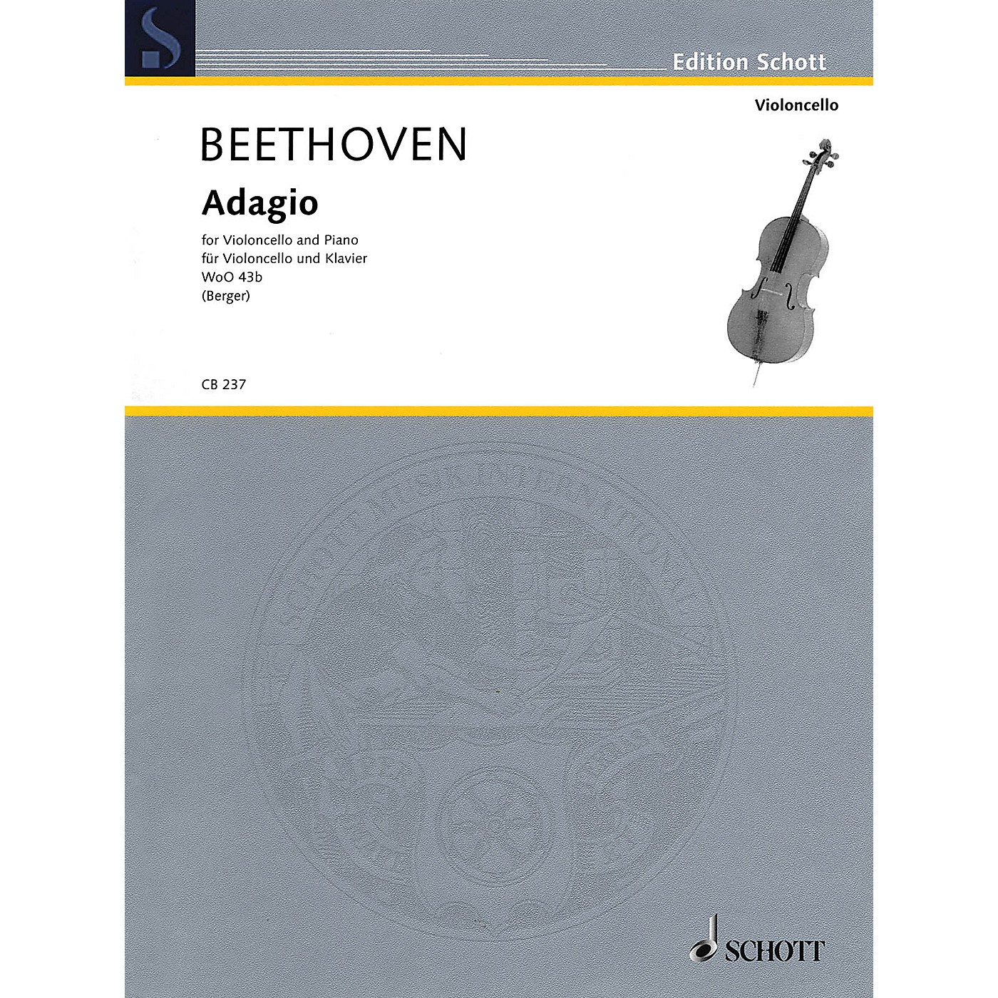 Schott Ludwig van Beethoven - Adagio WoO 43b (Cello and Piano) String Series Softcover thumbnail