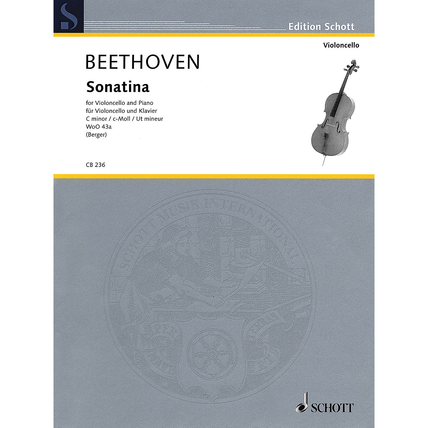 Schott Ludwig van Beethoven - Sonatina, WoO 43a (Cello and Piano) String Series Softcover thumbnail