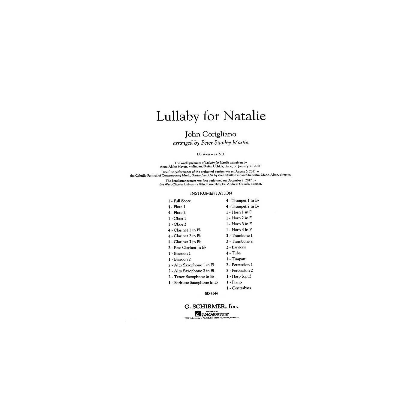 G. Schirmer Lullaby for Natalie Concert Band Level 5 Composed by John Corigliano thumbnail