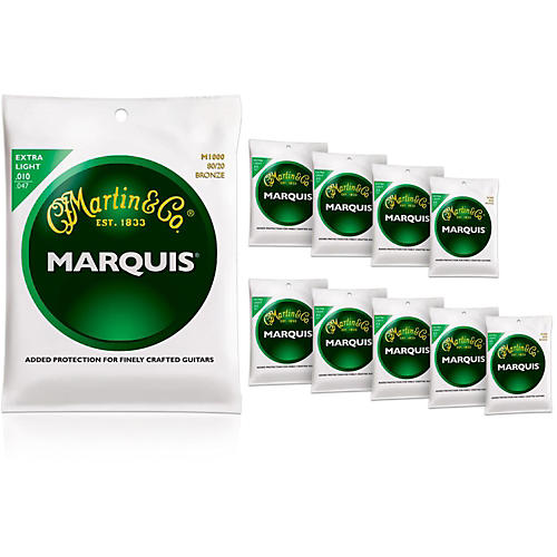 Martin M1000 Marquis 80/20 Bronze Extra Light 10-Pack Acoustic Guitar Strings thumbnail