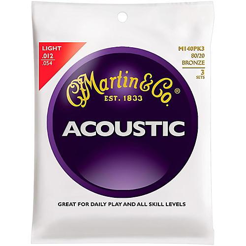 Martin M140 80/20 Bronze Light 3-Pack Acoustic Guitar Strings thumbnail