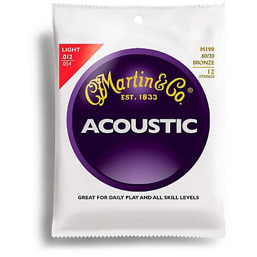 Martin M190 12-String 80/20 Bronze Light Acoustic Guitar Strings thumbnail