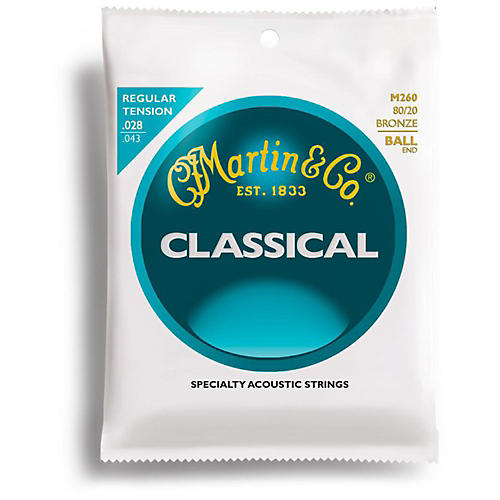 Martin M260 80/20 Bronze Ball-End Regular Tension Nylon Classic Guitar Strings thumbnail