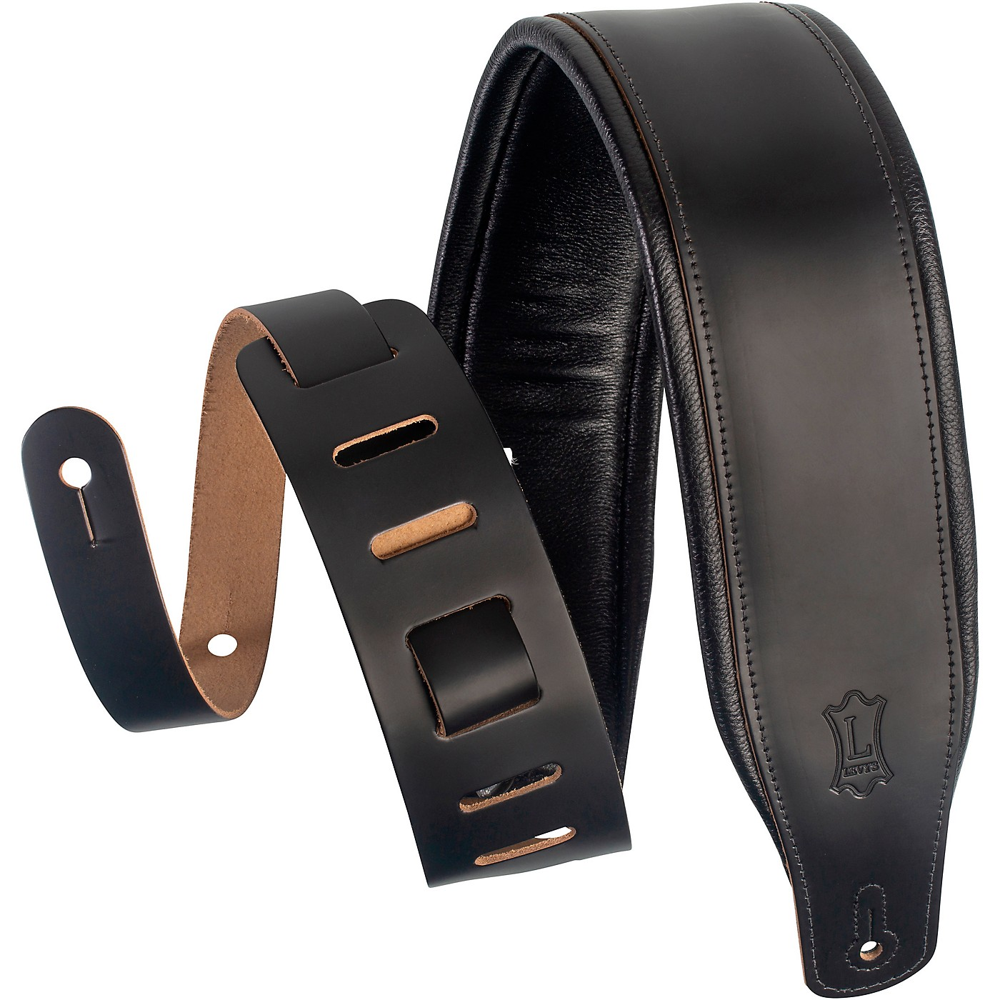 Levy's M26PD 3 inch Wide Top Grain Leather Guitar Straps thumbnail