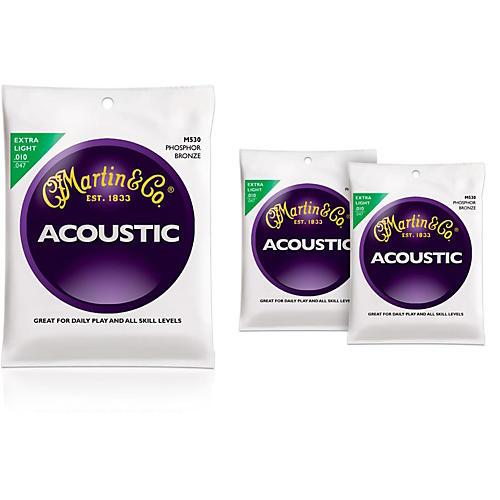Martin M530 Phosphor Bronze Extra Light 3-Pack Acoustic Guitar Strings-thumbnail