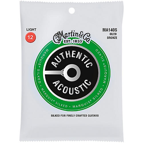Martin MA140S Marquis 80/20 Bronze Light Authentic Acoustic Silked Guitar Strings thumbnail