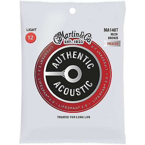 Martin MA140T Lifespan 2.0 80/20 Bronze Light Authentic Acoustic Guitar Strings thumbnail