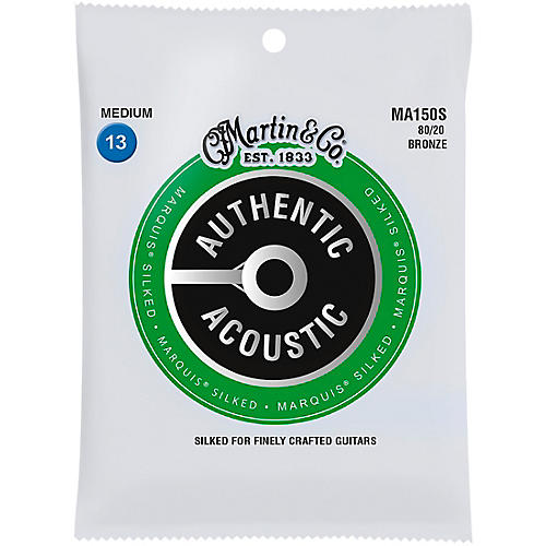 Martin MA150S Marquis 80/20 Bronze Medium Authentic Acoustic Silked Guitar Strings thumbnail