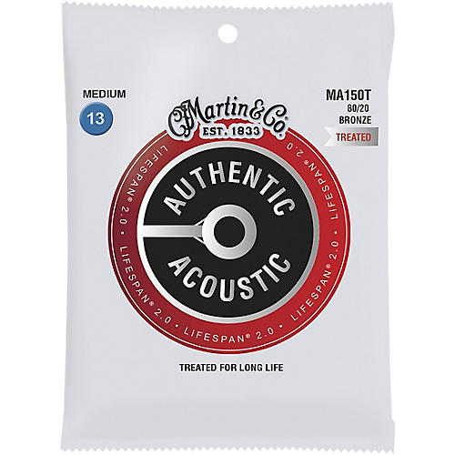 Martin MA150T Lifespan 2.0 80/20 Bronze Medium Authentic Acoustic Guitar Strings thumbnail