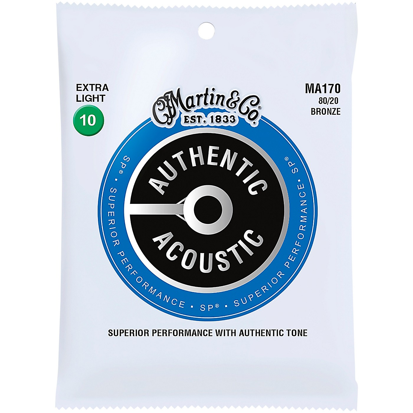 Martin MA170 Authentic Acoustic 80/20 Bronze Extra Light Guitar Strings thumbnail