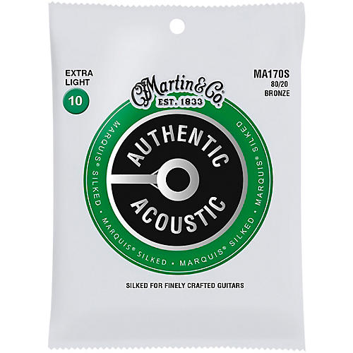 Martin MA170S Marquis 80/20 Bronze Extra-Light Authentic Acoustic Silked Guitar Strings thumbnail