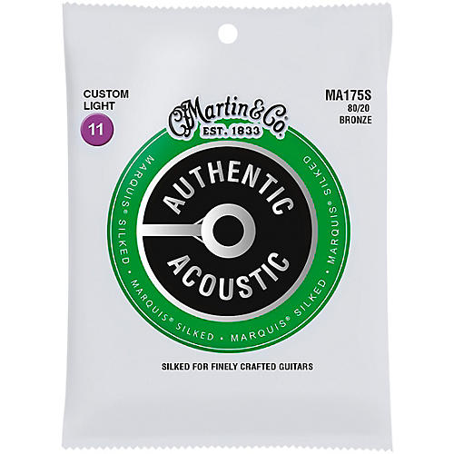 Martin MA175S Marquis 80/20 Bronze Custom-Light Authentic Acoustic Silked Guitar Strings thumbnail