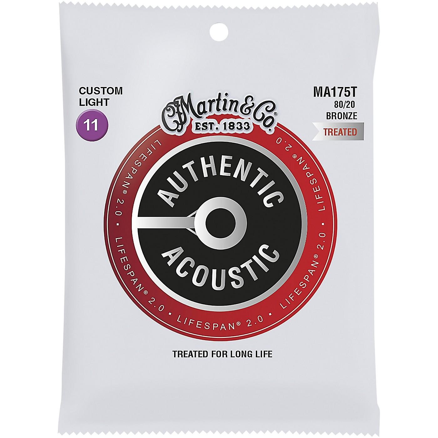 Martin MA175T Lifespan 2.0 80/20 Bronze Custom-Light Authentic Acoustic Guitar Strings thumbnail