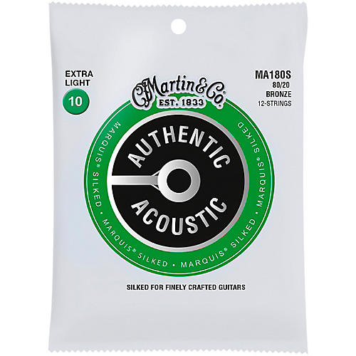 Martin MA180S Marquis 12-String 80/20 Bronze Extra-Light Authentic Acoustic Silked Guitar Strings thumbnail