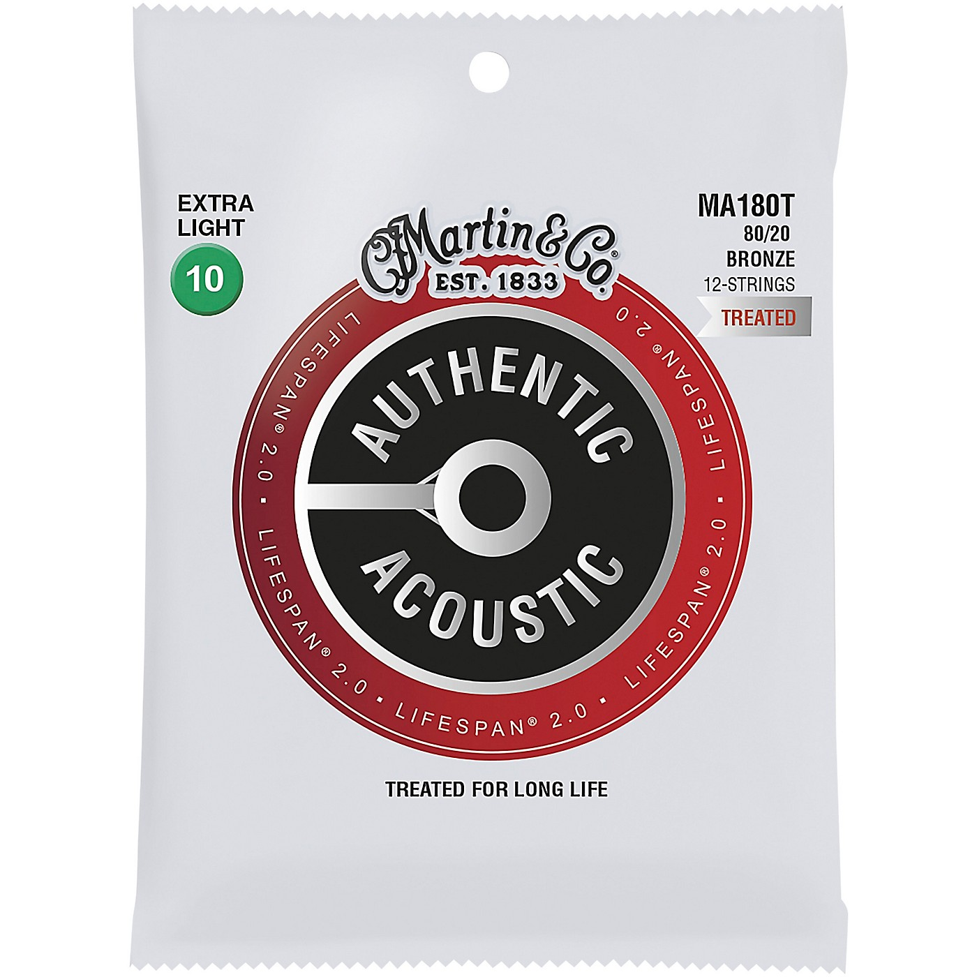 Martin MA180T Lifespan 2.0 12-String 80/20 Bronze Extra-Light Authentic Acoustic Guitar Strings thumbnail