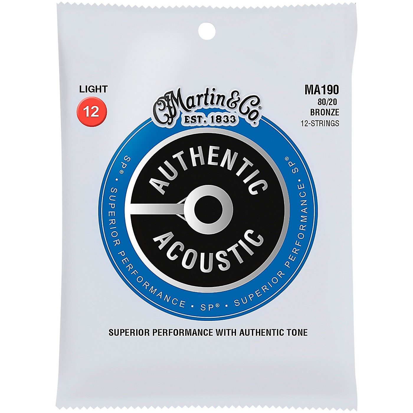 Martin MA190 SP 12-String 80/20 Bronze Light Authentic Acoustic Guitar Strings thumbnail