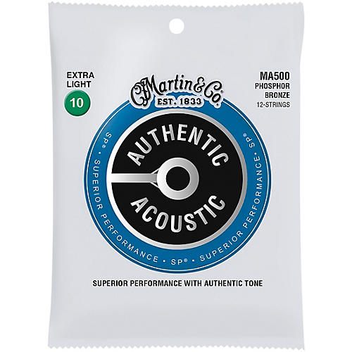 Martin MA500 SP 12-String Phosphor Bronze Extra-Light Authentic Acoustic Guitar Strings thumbnail