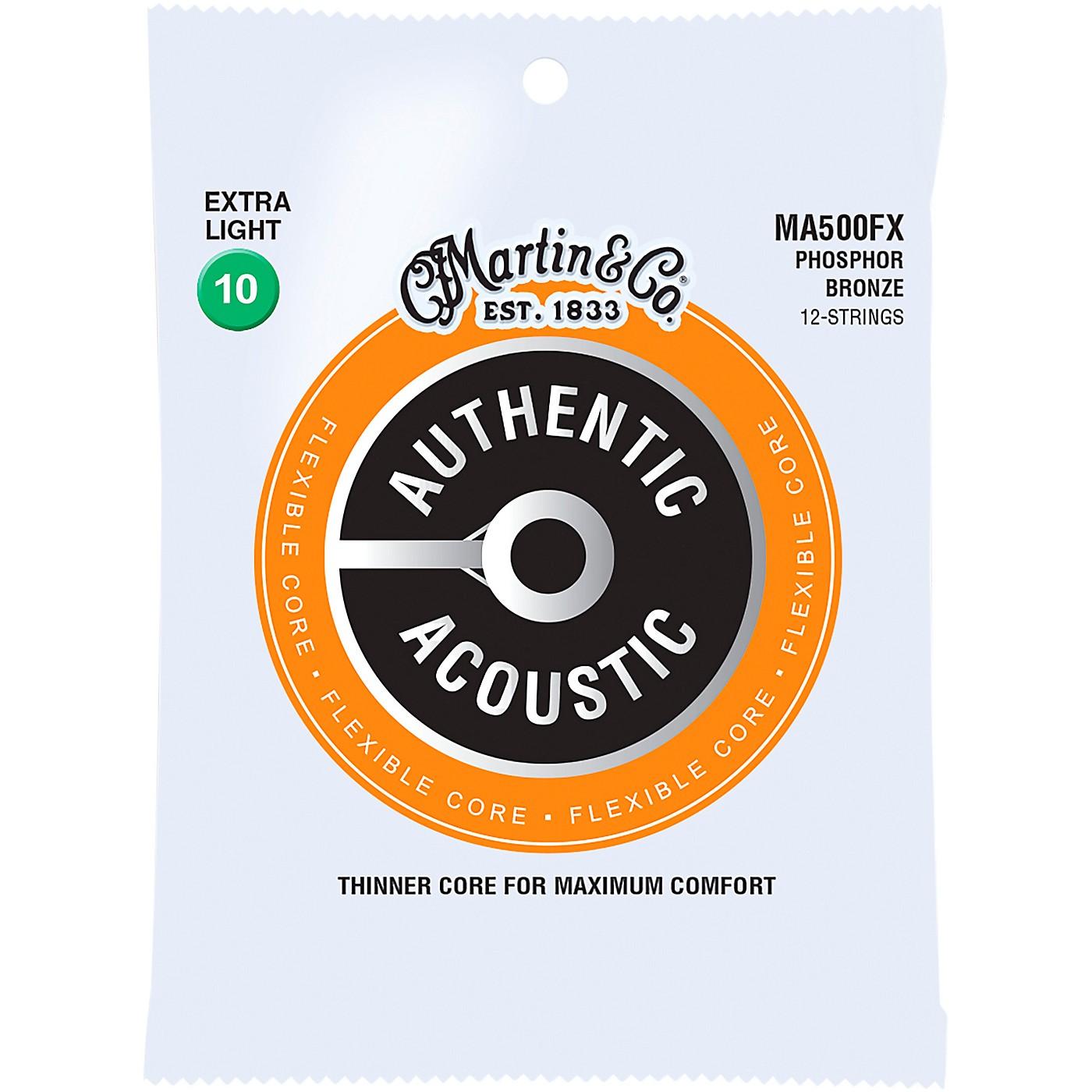 Martin MA500FX Authentic Acoustic Flexible Core 12-String Phosphor Bronze Light Guitar Strings thumbnail