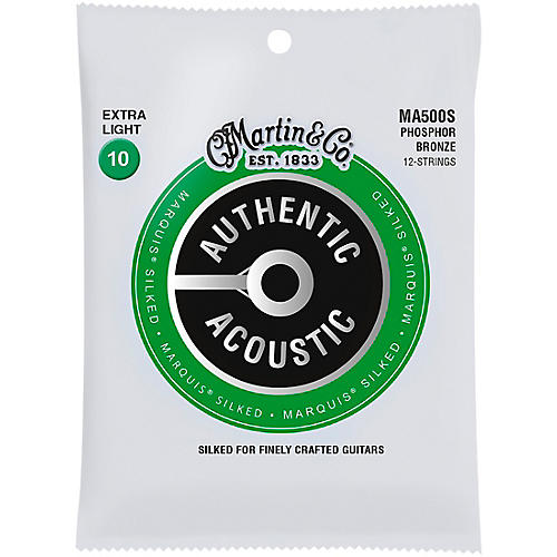 Martin MA500S Marquis 12-String Phosphor Bronze Extra-Light Authentic Silked Acoustic Guitar Strings thumbnail