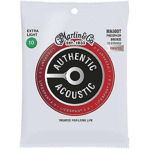 Martin MA500T Lifespan 2.0 12-String Phosphor Bronze Extra-Light Authentic Acoustic Guitar Strings thumbnail