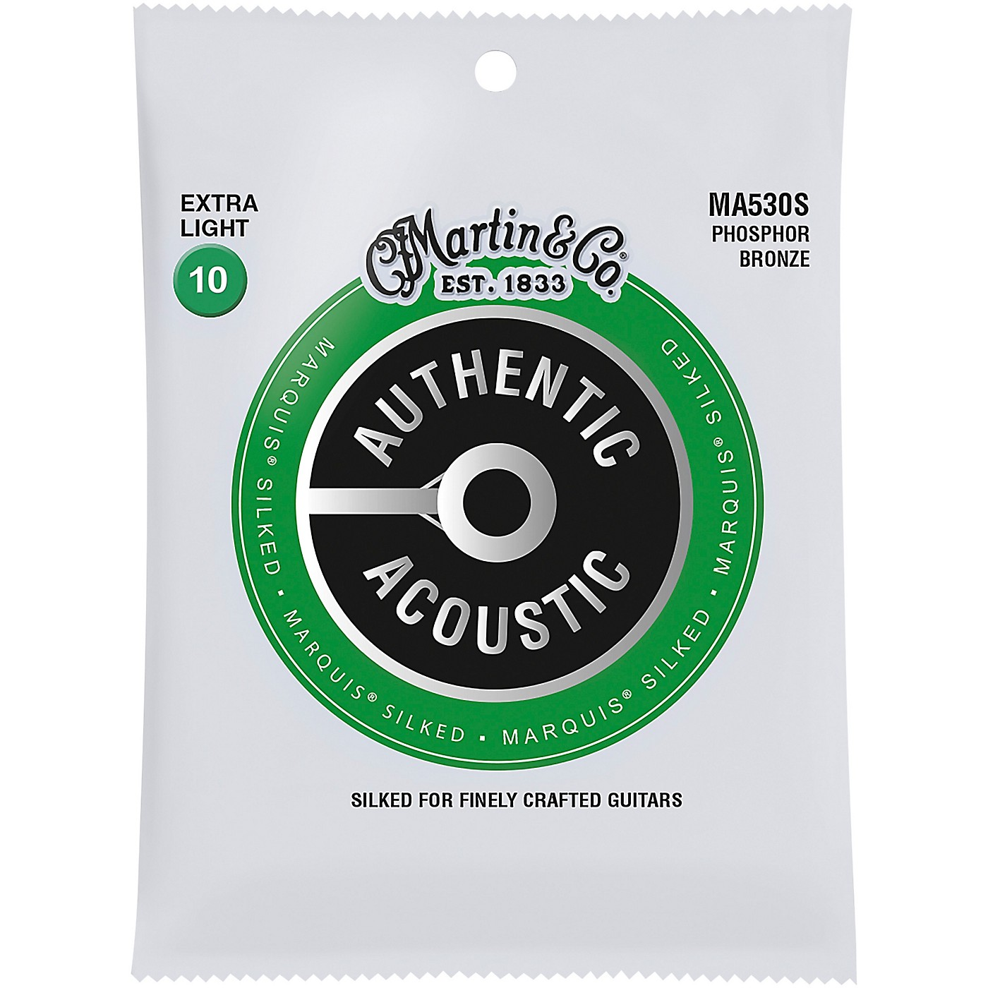 Martin MA530S Marquis Phosphor Bronze Extra-Light Authentic Acoustic Silked Guitar Strings thumbnail