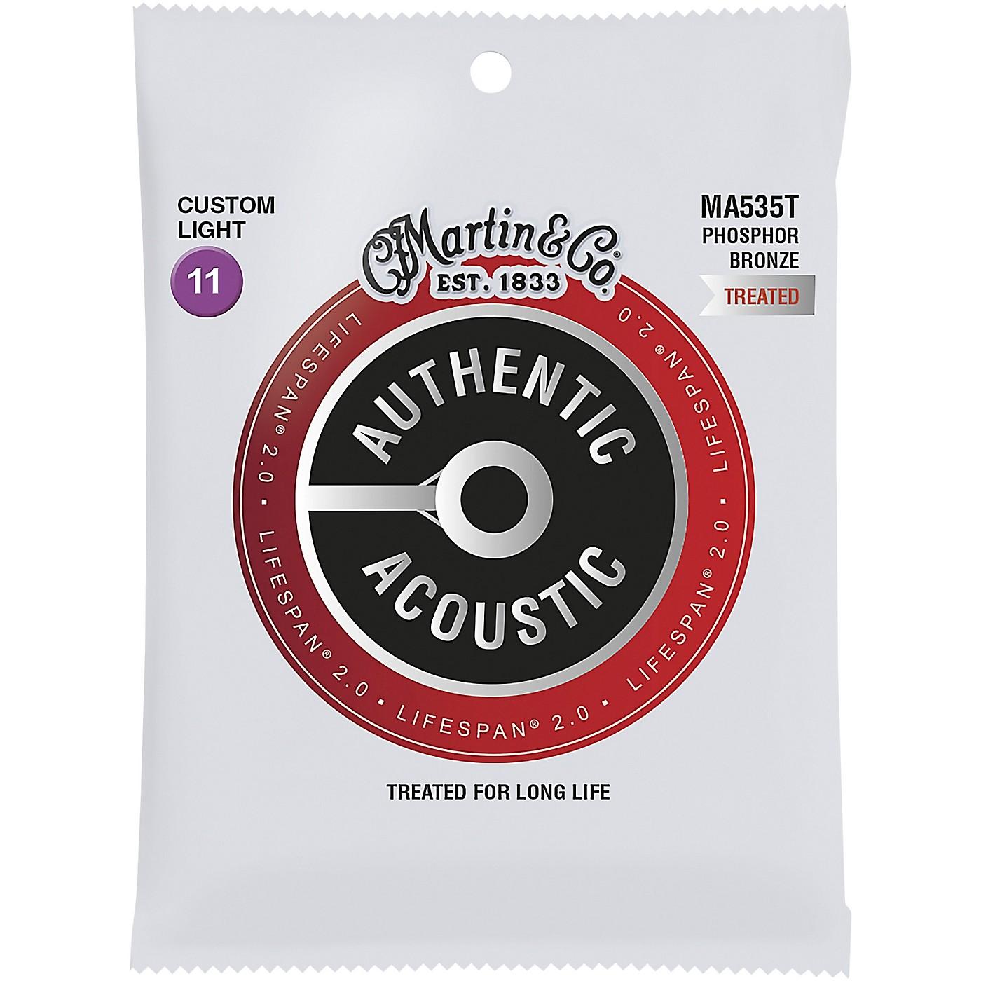 Martin MA535T Lifespan 2.0 Phosphor Bronze Custom-Light Authentic Acoustic Guitar Strings thumbnail