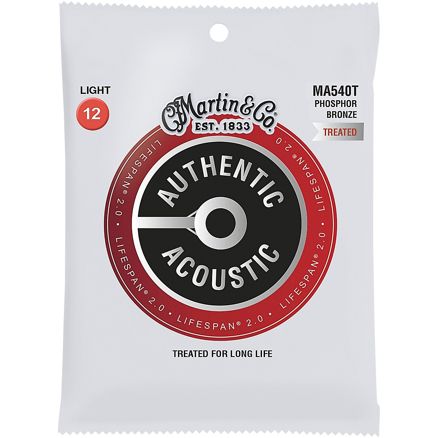 Martin MA540T Lifespan 2.0 Phosphor Bronze Light Authentic Acoustic Guitar Strings thumbnail