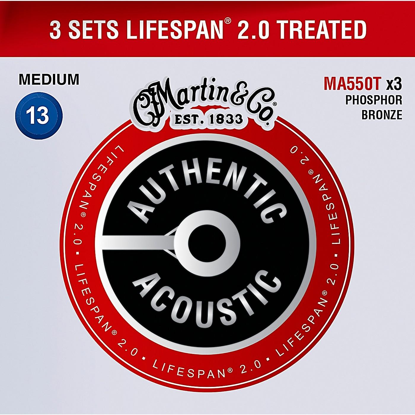Martin MA550T Lifespan 2.0 Phosphor Bronze Medium Authentic Acoustic Guitar Strings - 3 Pack thumbnail