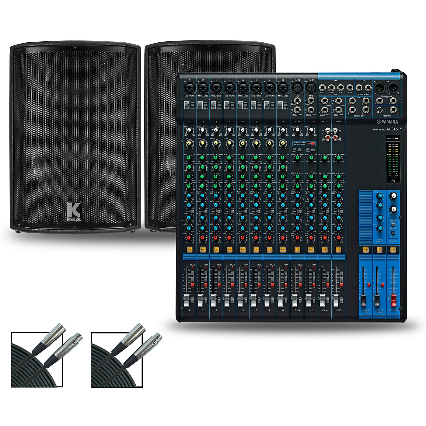 Yamaha MG16XU Mixer and Kustom HiPAC Speakers thumbnail