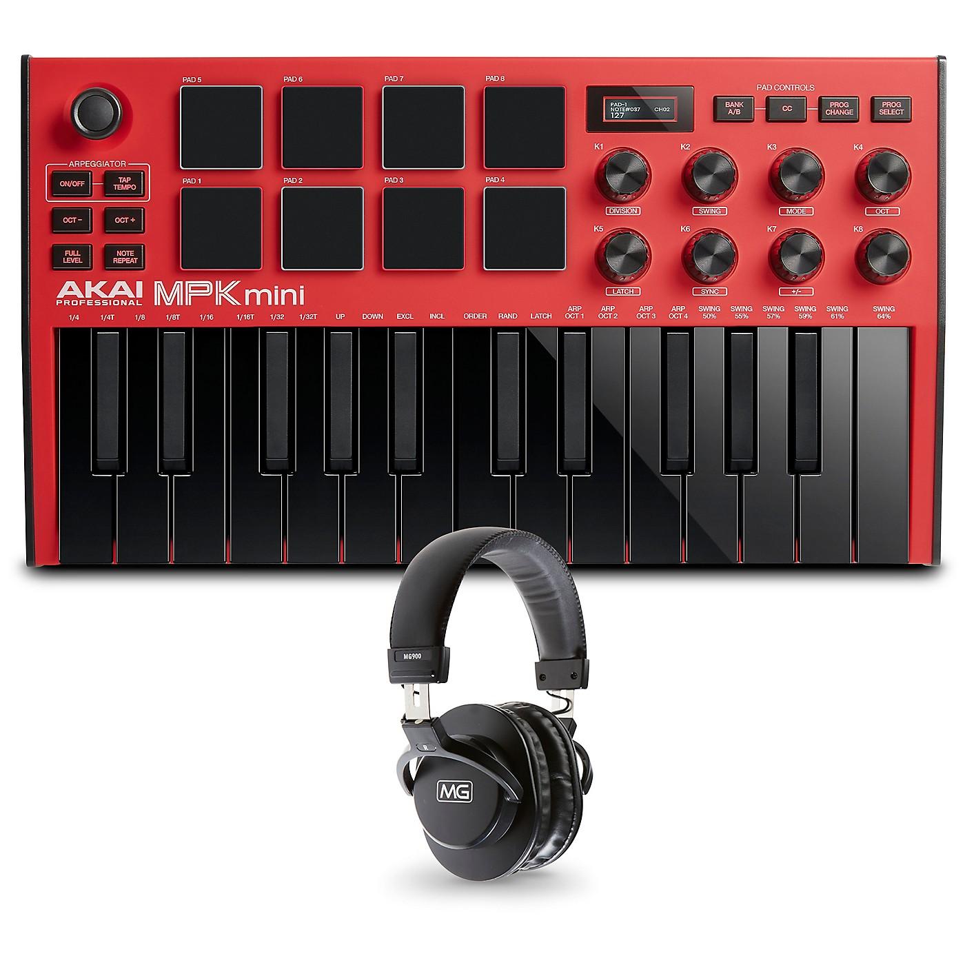 Akai Professional MPK Mini MK3 Red Keyboard Controller and Headphones thumbnail