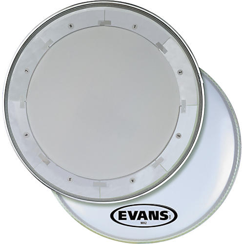 Evans MX1 White Marching Bass Drum Head thumbnail