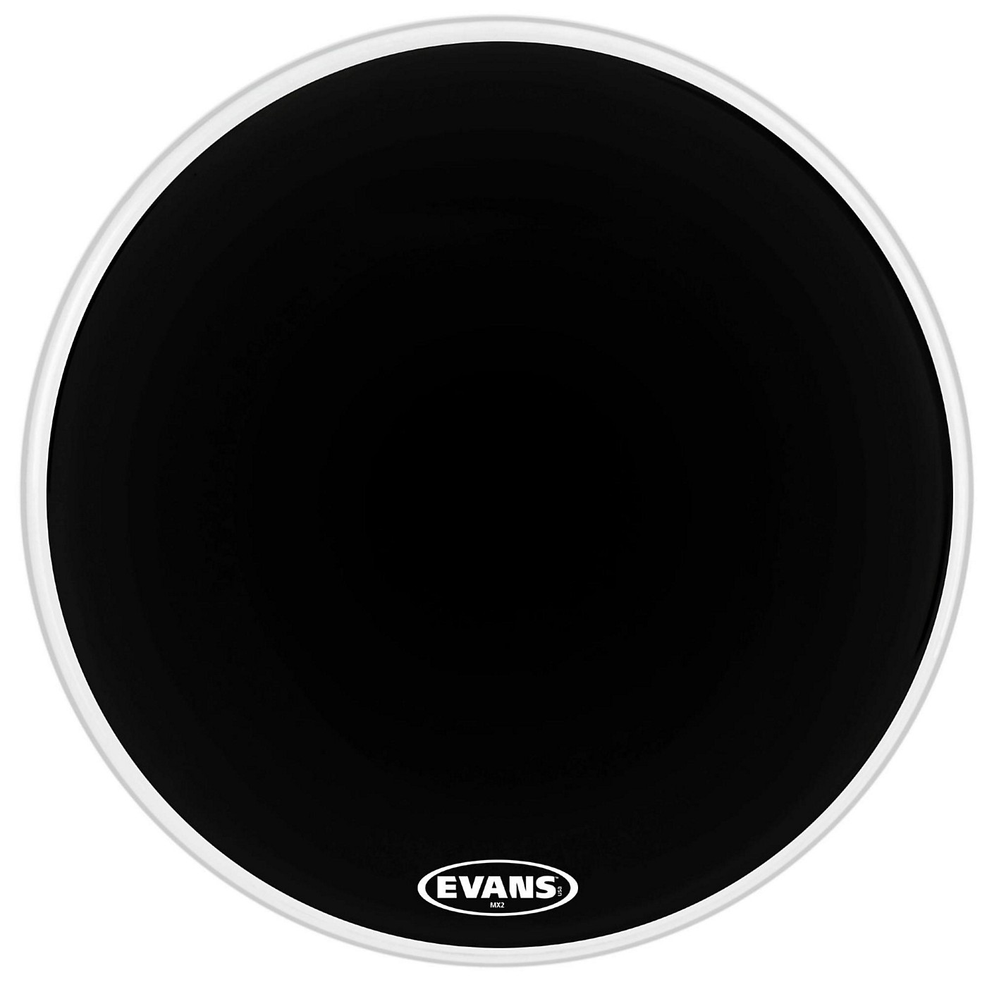 Evans MX2 Black Marching Bass Drum Head thumbnail