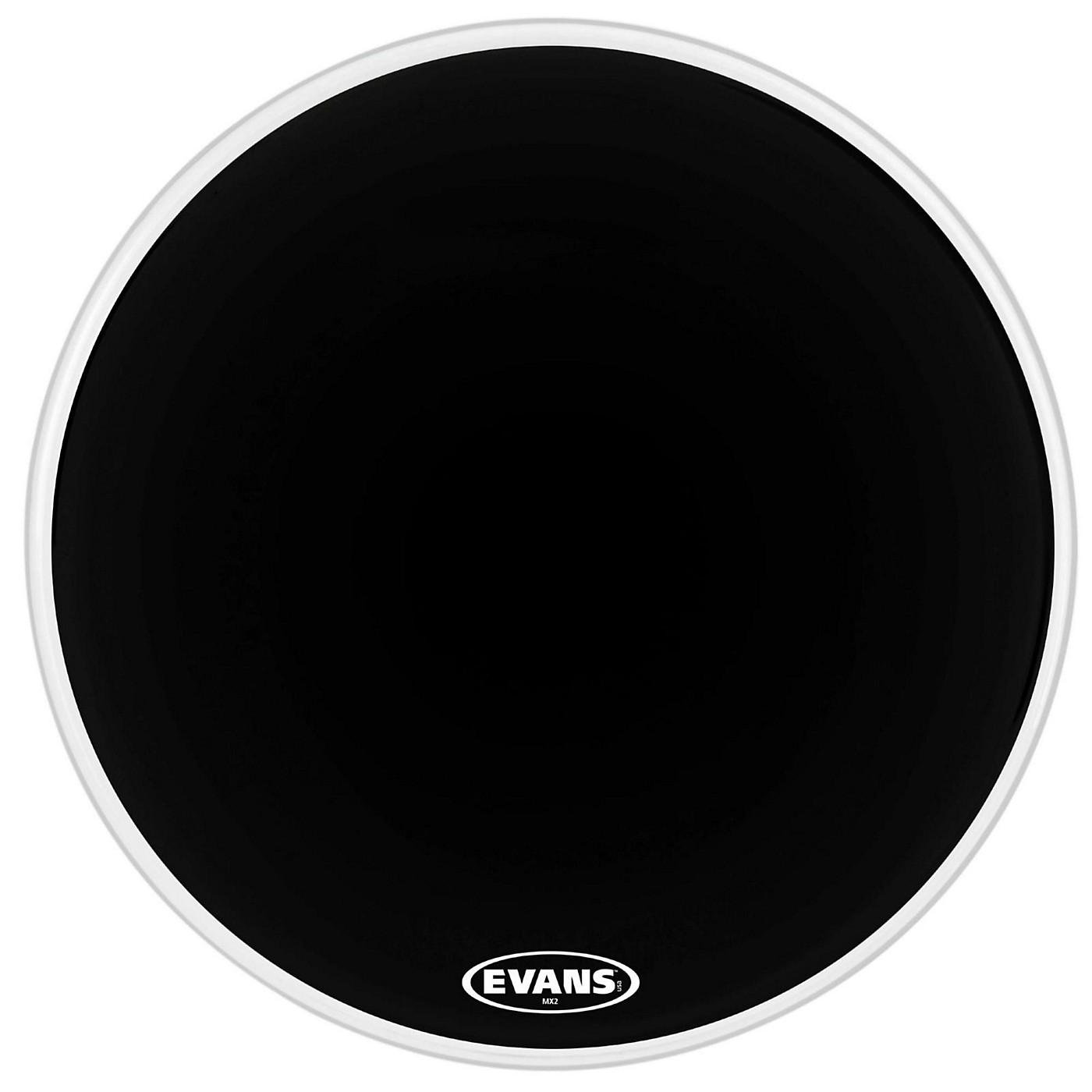 Evans MX2 Black Marching Bass Drum Head thumbnail
