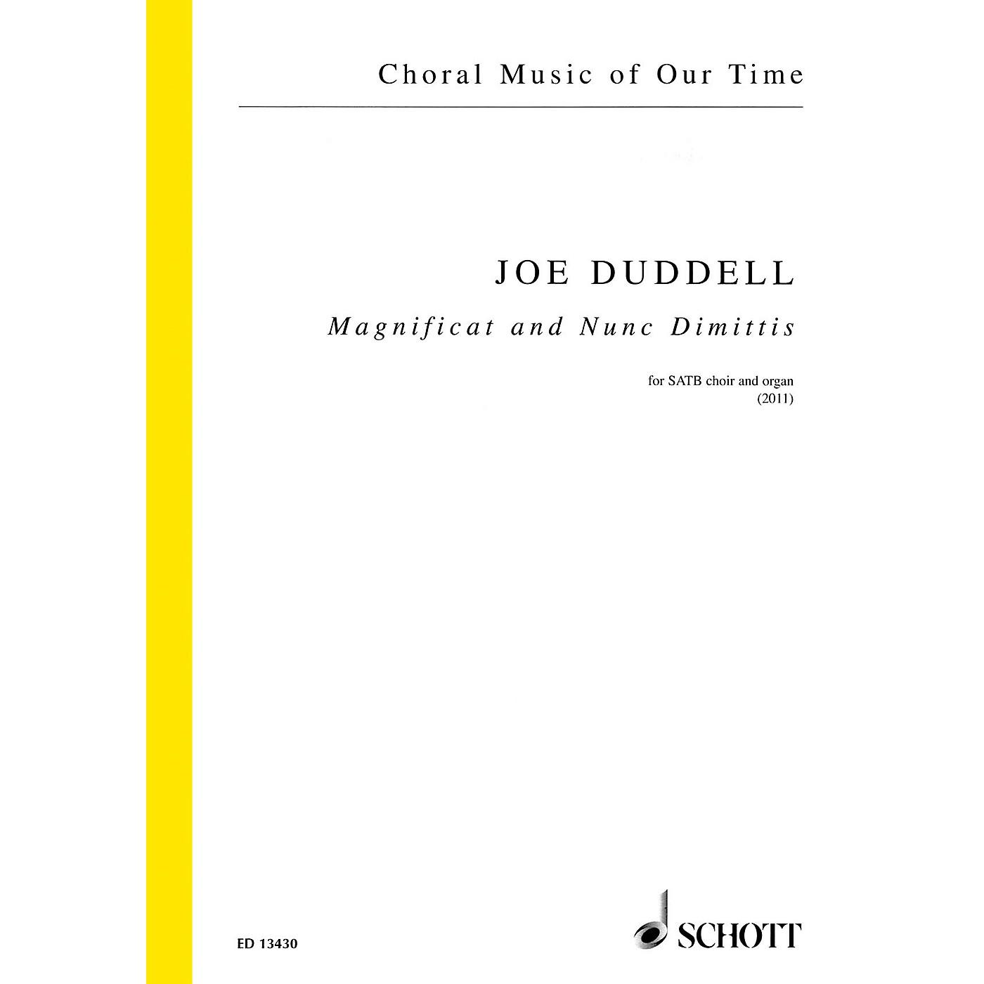 Schott Magnificat and Nunc Dimittis (SATB Choir and Organ) SATB, Organ Composed by Joe Duddell thumbnail