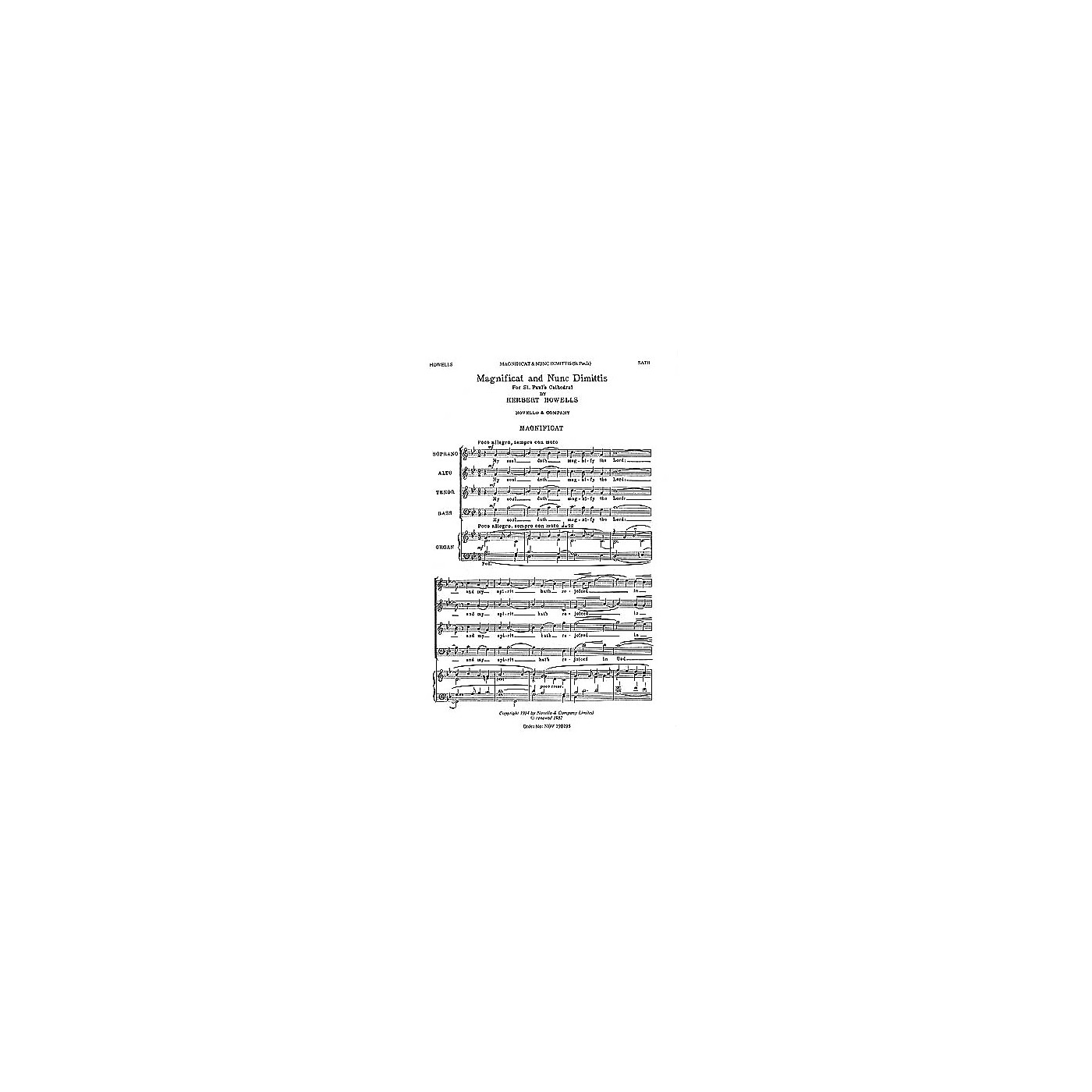 Novello Magnificat and Nunc Dimittis (St. Paul's Cathedral) SATB Composed by Herbert Howells thumbnail