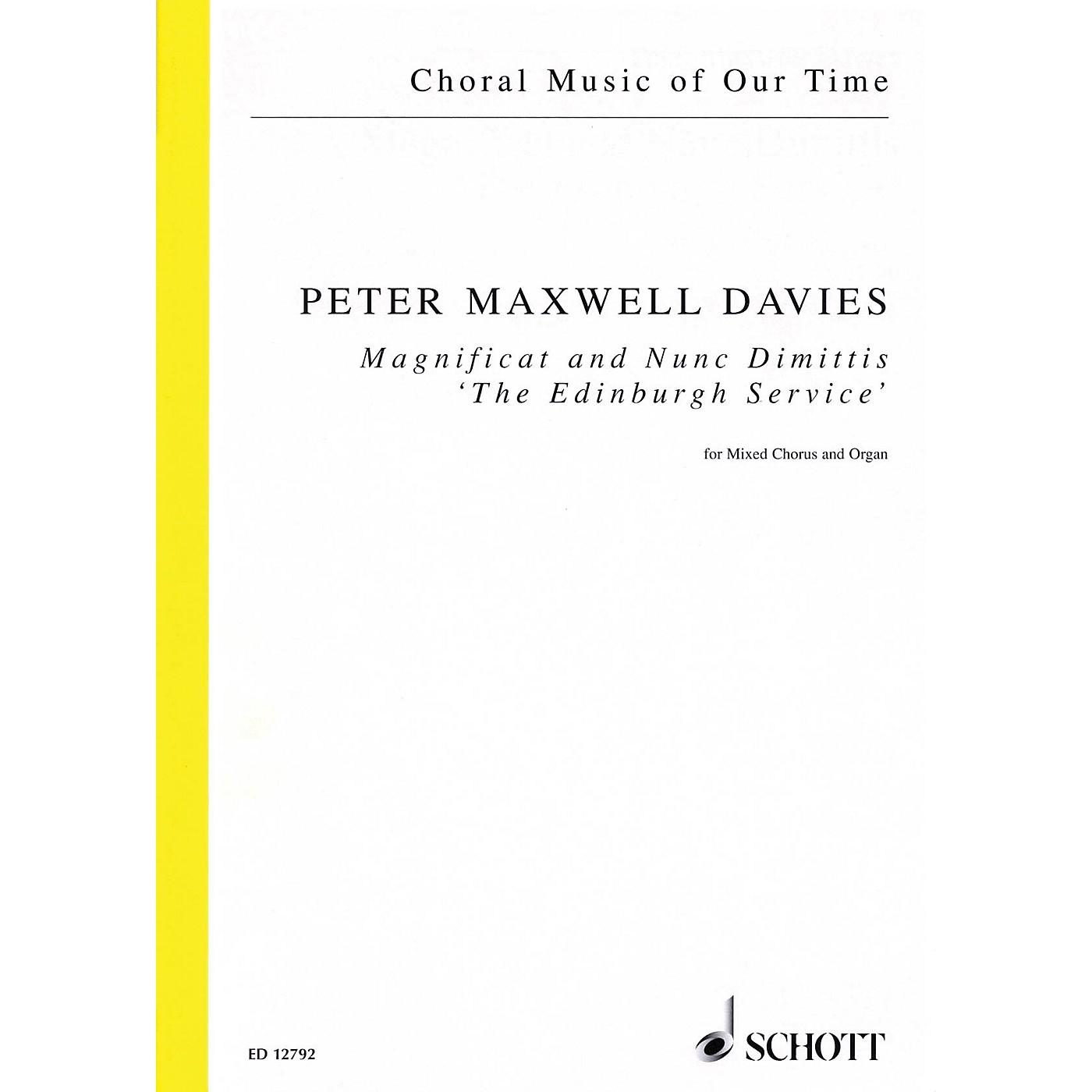 Schott Magnificat and Nunc Dimittis The Edinburgh Service (SATB and Organ) Vocal Score by Peter Maxwell Davies thumbnail
