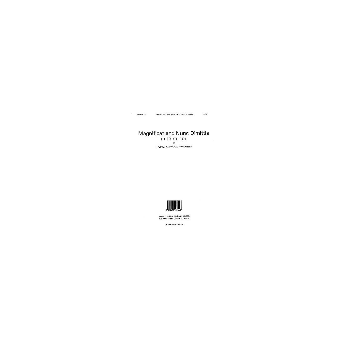 Novello Magnificat and Nunc Dimittis in D minor SATB, Organ Composed by Thomas Attwood Walmisley thumbnail
