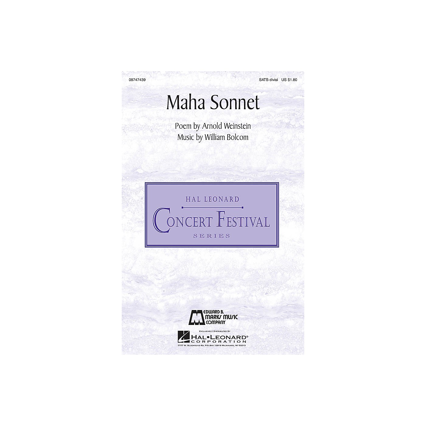 Edward B. Marks Music Company Maha Sonnet SATB Divisi composed by William Bolcom thumbnail