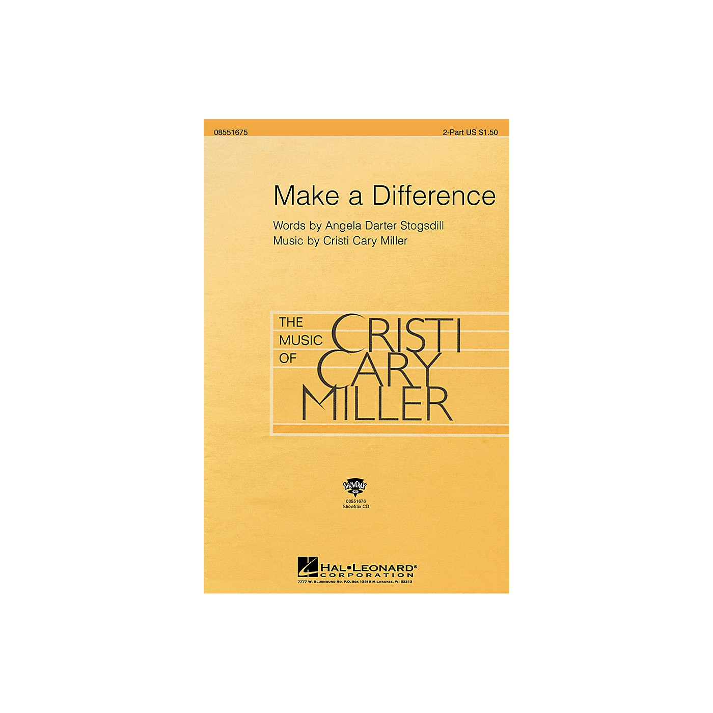 Hal Leonard Make a Difference (2-Part and Piano) 2-Part composed by Cristi Cary Miller thumbnail