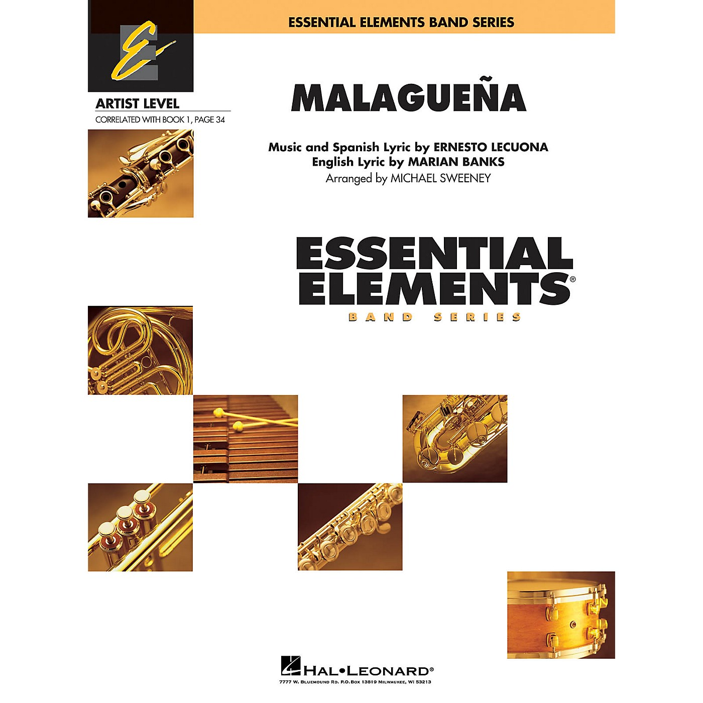 Hal Leonard Malagueña (Includes Full Performance CD) Concert Band Level 1 Arranged by Michael Sweeney thumbnail