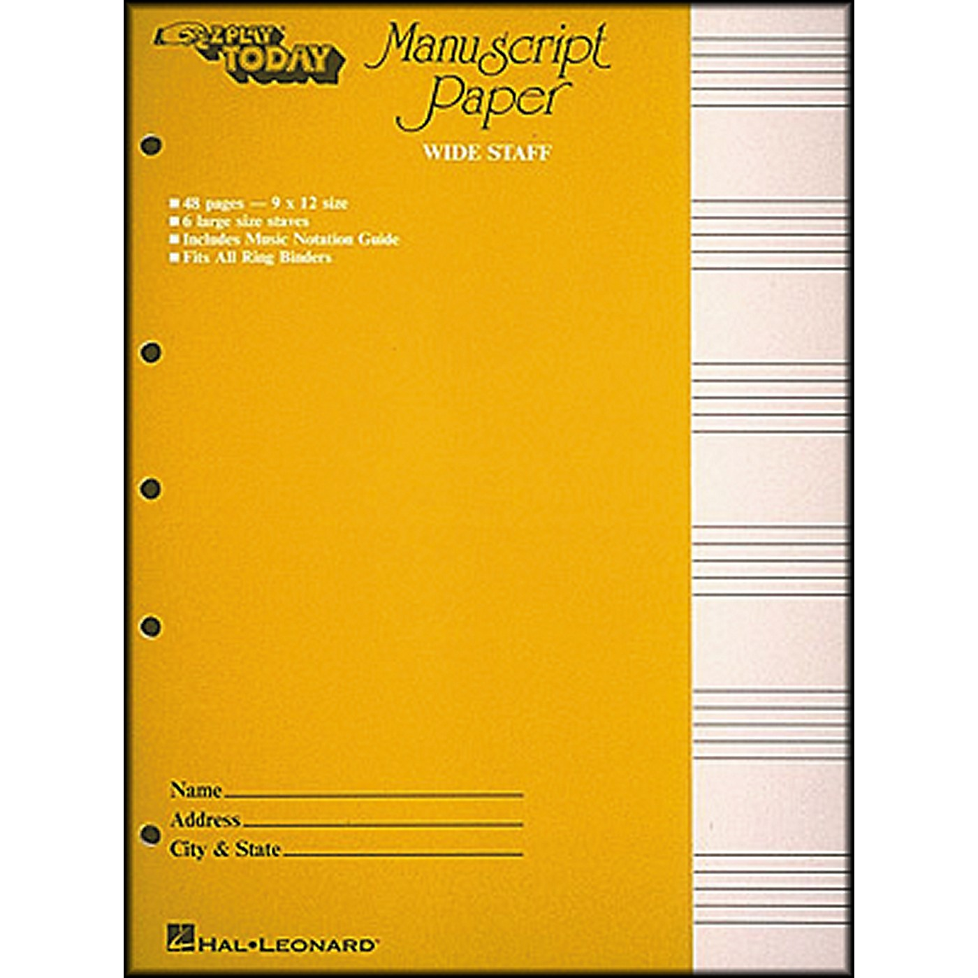 Hal Leonard Manuscript Paper (Wide Staff) 'E-Z Play Today' thumbnail