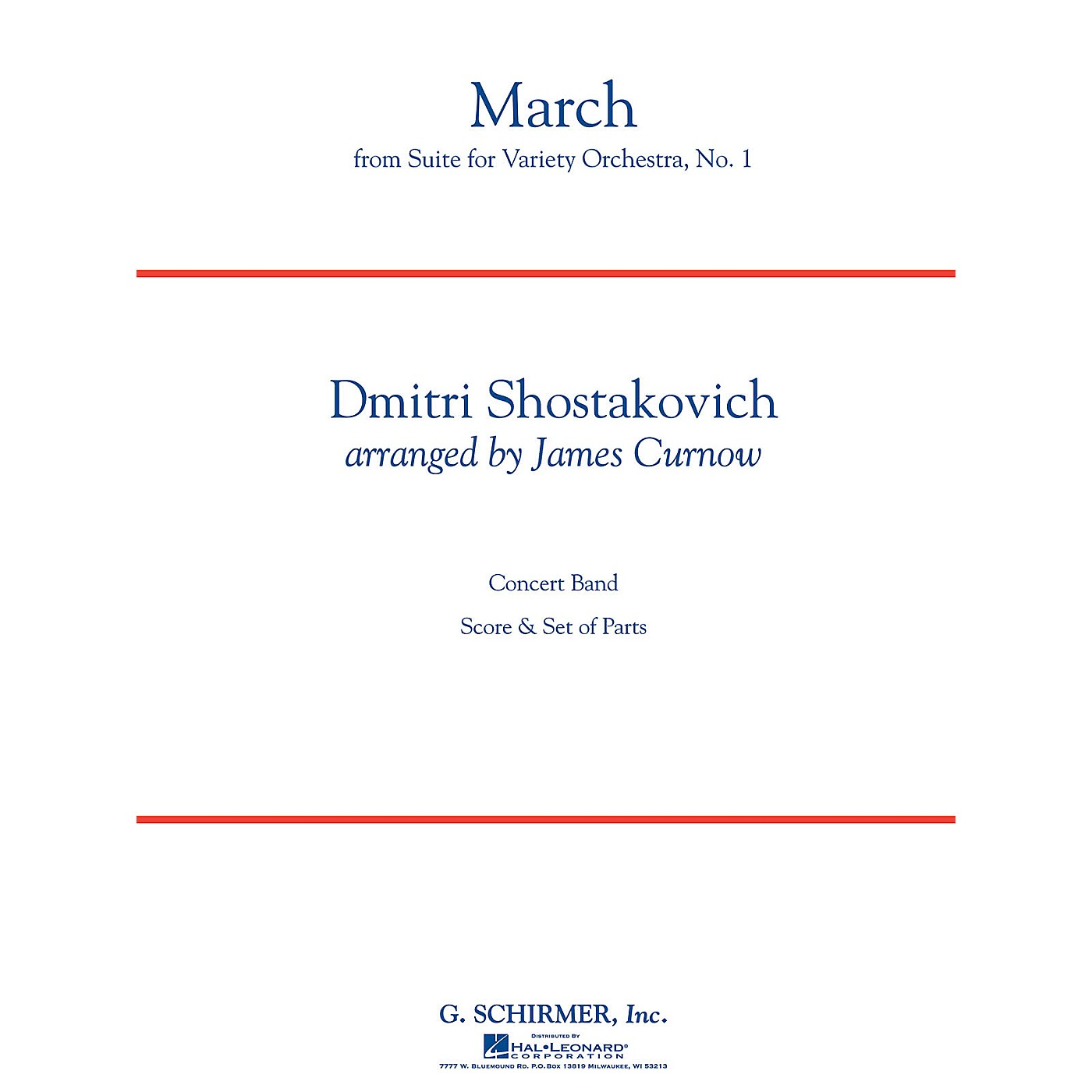 G. Schirmer March from Suite for Variety Orchestra, No. 1 Concert Band Level 4 by Shostakovich Arranged by Curnow thumbnail